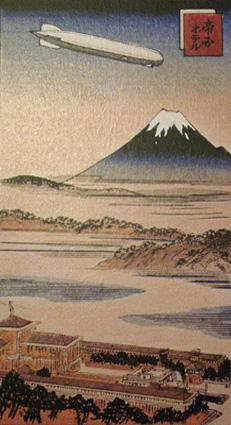 Ukiyo-e of Graf Zeppelin over Mt Fuji